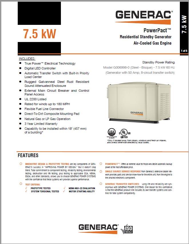 Generac 7.5kW